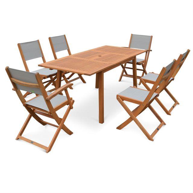 Salon de jardin en bois Almeria, table 120-180cm rectangulaire avec allonge papillon, 2 fauteuils et 4 chaises eucalyptus FSC et textilène gris taupe
