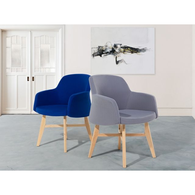 Beliani Fauteuil en tissu-Gris-Chaise design- Ystad