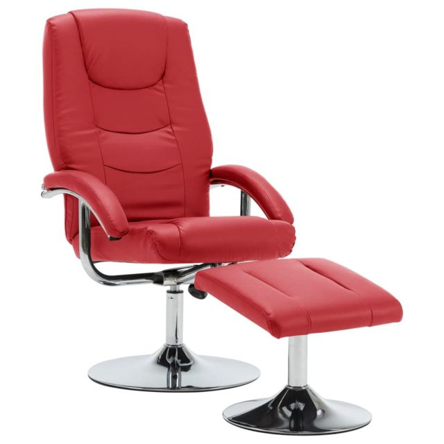 Icaverne Fauteuils reference Fauteuil inclinable avec repose-pied Rouge Similicuir