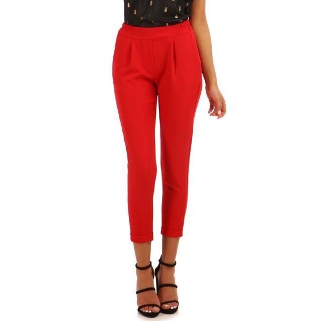 Lamodeuse - Pantalon cigarette rouge à ourlets
