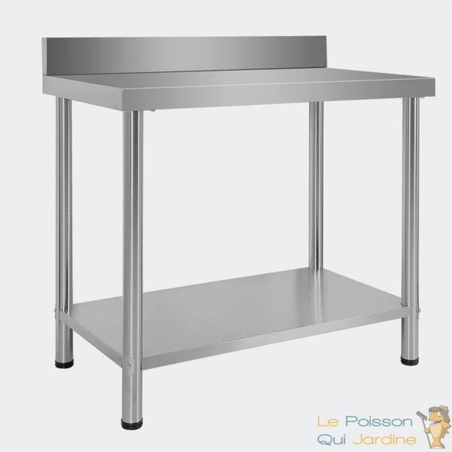 Aqua Occaz Table de Travail ou établi en Inox avec rebord de protection