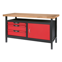 Ks Tools - Etabli professionnel d'atelier 1 porte et 3 tiroirs, L. 1,4m 865.0140