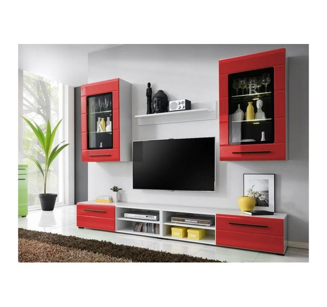 Chloe Decoration Meuble Tv Design Mural Niber Ii Blanc Et Rouge