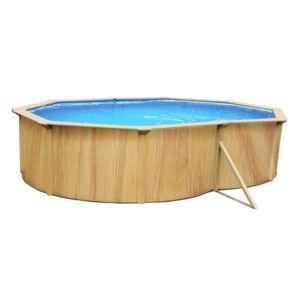 Habitat et jardin piscine acier ovale aspect bois for Piscine bois habitat et jardin