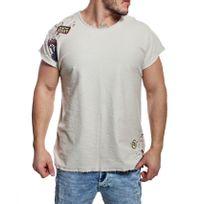Redbridge - T-shirt troué avec patchs aspect toile de jute beige