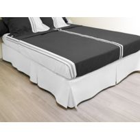 Bonareva - Cache sommier plateau 3 plis 140x190 cm blanc