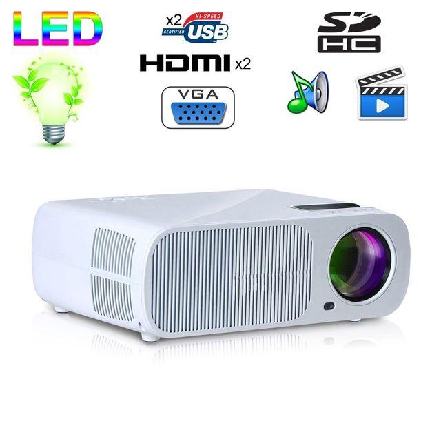 Yonis Mini vidéoprojecteur 2600 lumens 110W home cinema Hdmi Usb Blanc