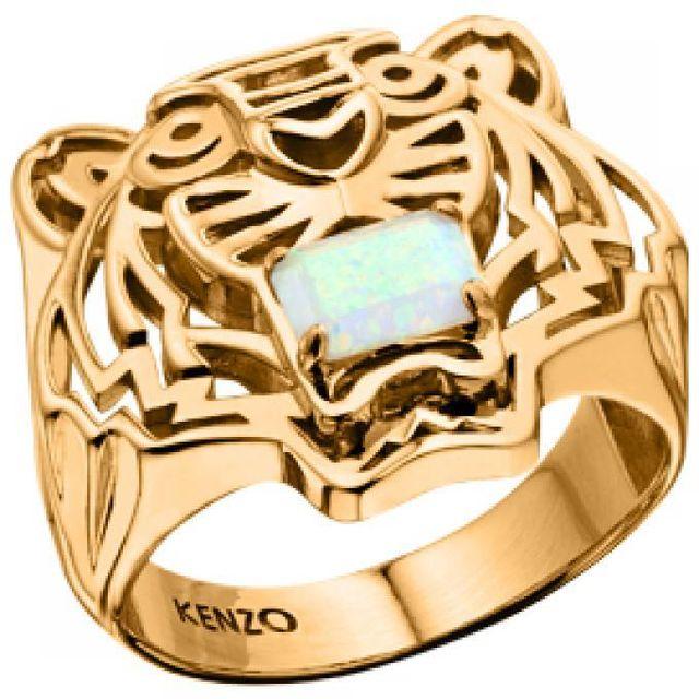 Kenzo Bijoux - Bague Kenzo Tiger Stone 702638301080 - Bague Opale Blanc  Femme 7872b542477a