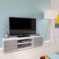 Meuble Tv Extensible Thiago 2 Portes 2 Niches Chene Pas Cher Achat Vente Meubles Tv Hi Fi Rueducommerce
