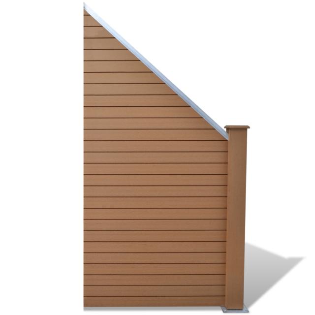 Vidaxl - Panneau de clôture jardin design incliné en Wpc marron ...