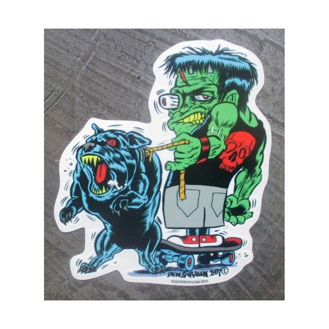 Universel Sticker frankenstein et son chien pitbull autocollant rock