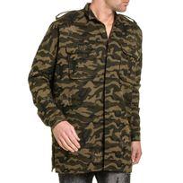 Sixth June - Chemise homme longue camouflage oversize coupe large