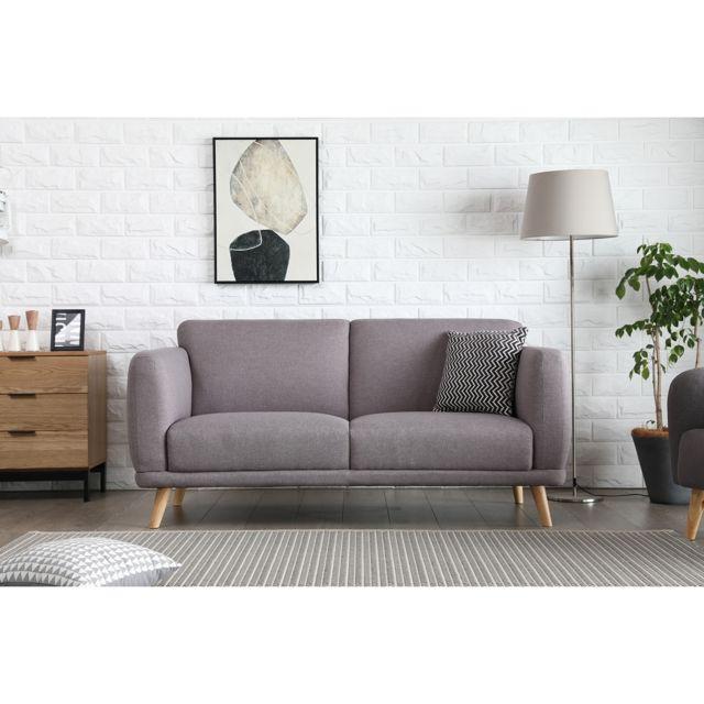 CONCEPT USINE Agatha gris clair : Canapé scandinave 3 places gris clair