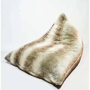 Coussineo - Coussin geant Berlingot fourrure Loup 90x130x80 cm Taupe
