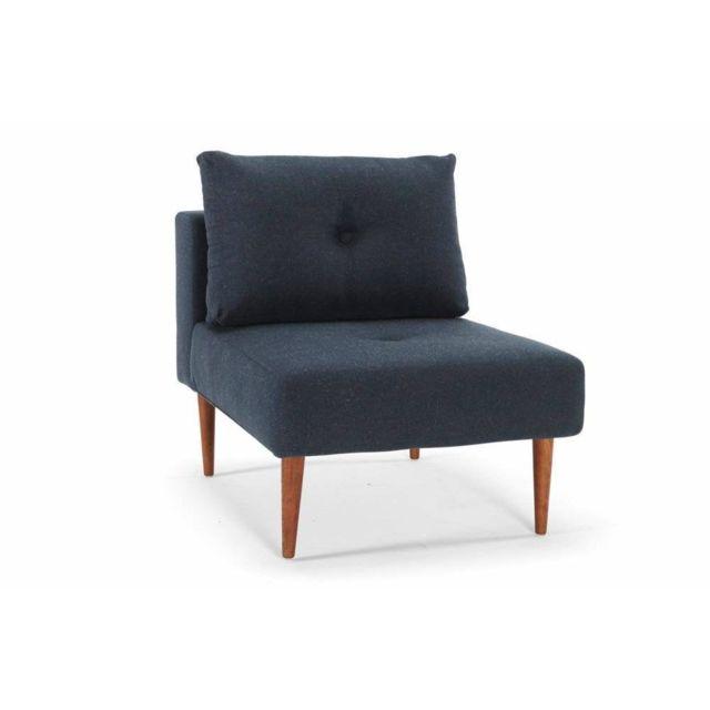 Inside 75 Fauteuil design Recast Plus Nist Blue piétement noyer
