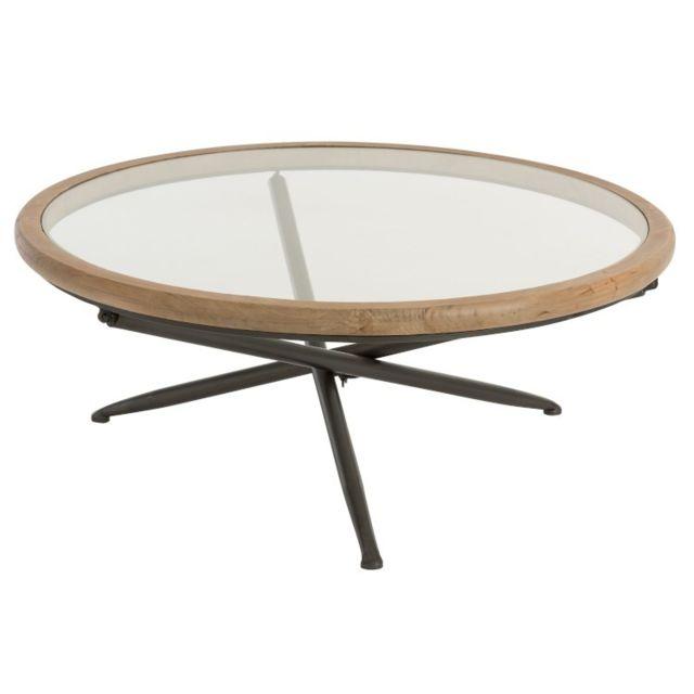 La Chaiserie Table basse ronde naturelle moderne campagne plateau verre jules