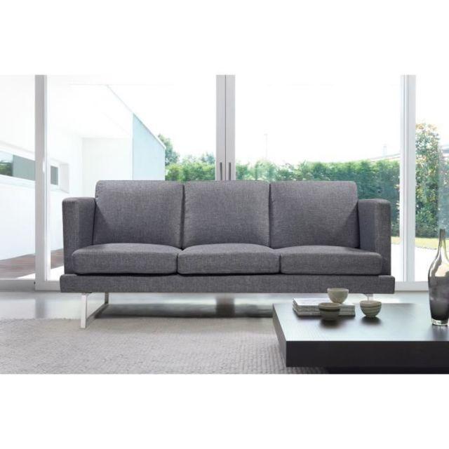 CANAPE - SOFA - DIVAN WESTWOOD Canapé droit fixe 3 places - Tissu gris - Contemporain - L 182 x P 81 cm