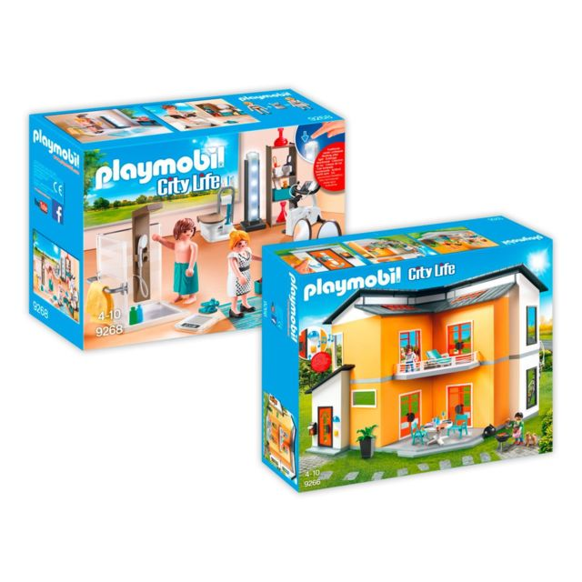 Playmobil - 9266-9368 Maison moderne - 2 boîtes - 9266+9268 - pas ...
