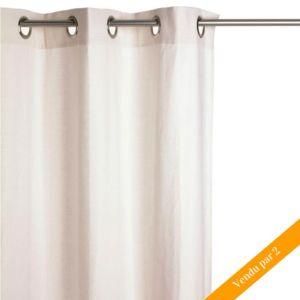 paris prix lot de 2 rideaux 140x260cm ivoire pas cher achat vente rideaux rueducommerce. Black Bedroom Furniture Sets. Home Design Ideas