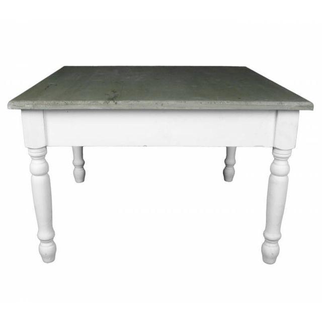 Charmante Table Basse Console de Salon Bout de Canapé Desserte d\'Appoint  Forme Carrée en Bois Patiné Blanc et Marron 45x70x70cm