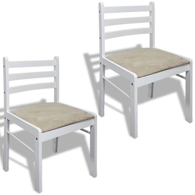 Chaise de salle à manger 2 pcs Carrée Bois Blanc | Blanc