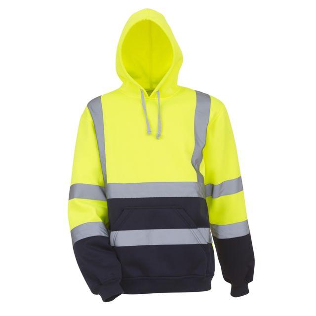 Yoko Sweatshirt à capuche haute visibilité - Homme Lot de 2, S, Jaune/Bleu marine Utrw6877
