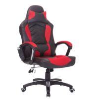 HOMCOM - Luxe fauteuil/chaise de bureau avec fonction de massage et de réchauffage chauffant modèle de course rouge et noir 19rd