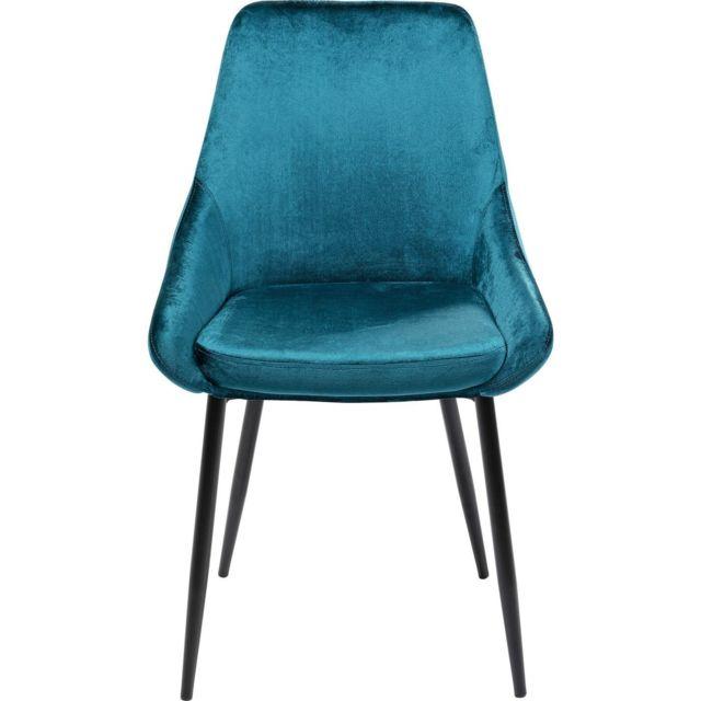 Chaise East Side velours bleu vert Kare Design