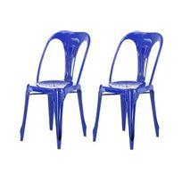 Declikdeco - Lot de 2 Chaises Industrielles Bleue Métal Kirk