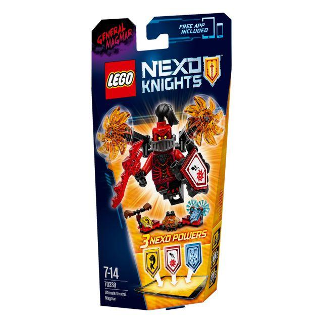 Lego NEXO KNIGHTS - L'ultime Général Magmar - 70338 Partez plein de gloire avec les lames de scie enflammées et tournantes de l'ultime Général Magmar de cet ensemble plein d'action, avec 3 écussons à scanner et une figur