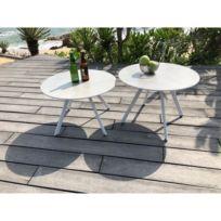 Métal Vendue Tables Table En De Base 2 Plateau Rondes Basse Jardin Gres Avec Blanc Seule Lot xodCBe