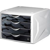 Helit - Module de rangement à 4 tiroirs - décor hexagone noir