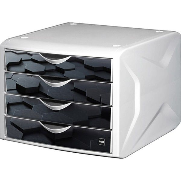 helit module de rangement 4 tiroirs d cor hexagone noir pas cher achat vente bo tes d. Black Bedroom Furniture Sets. Home Design Ideas