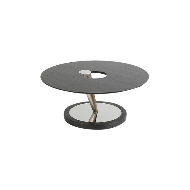 Table basse en acier et bois plateau tournant