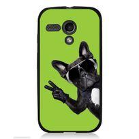 Kabiloo - Coque noire pour Motorola Moto G impression chien à lunettes sur fond vert