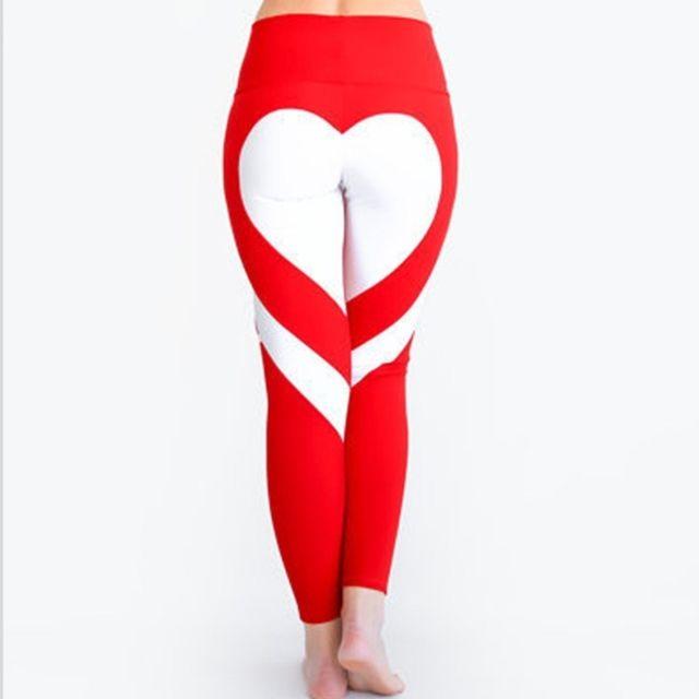 7d821d1abcc Wewoo - Pantalons et Capris Femme rouge blanc Femmes Mode Loisirs Ass Amour  Couture Mettre Hip Élastique Taille Leggings Haute Pantalon
