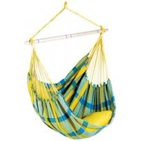 Amazonas - Fauteuil suspendu Brasil - couleur Lemon carreaux jaune & bleu