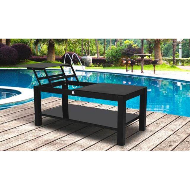Garden Park Table Basse Jardin Relevable Noire Pas Cher Achat