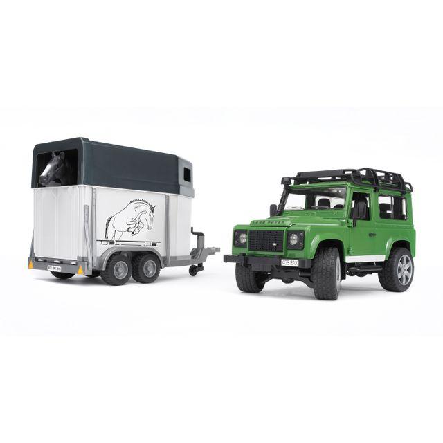 BRUDER Land rover défender 90 break avec van et cheval - 2592