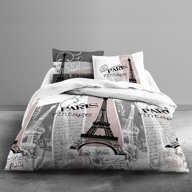 Today Housse De Couette Vintage Paris 240 X 260 Cm Avec Taies D