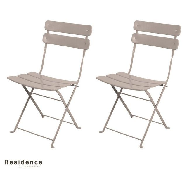 pliantes Taupe Résidence Couleur Lot 2 de chaises b6yYf7gv