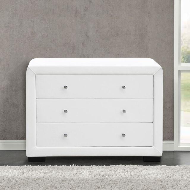 CONCEPT USINE Lucay blanc : commode de chambre 3 tiroirs en simili blanc