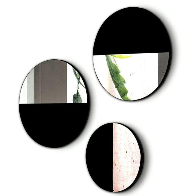 Pegane Lot de 3 miroirs ronds en bois et verre coloris Noir