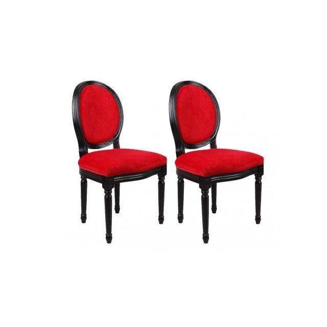7fb7522025584c MARQUE GENERIQUE - Lot de 2 chaises LOUIS XVI - Velours rouge - pas ...