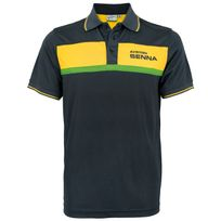 Ayrton Senna - Polo Racing noir pour homme taille M