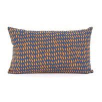 Present Time - Coussin 100% coton déhoussable motif losange Tuned Mesh - Bleu   Jaune - 30x50cm