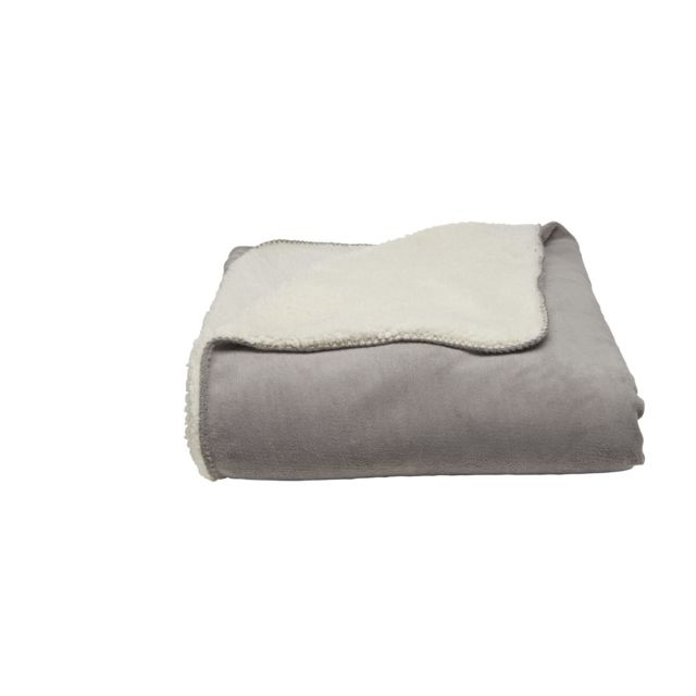 TEX HOME Couverture TENDRESSE en polyester Couverture TENDRESSE en polyester 220x240 cm - perle