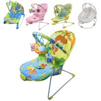 Monsieur Bébé - Transat bébé vibrant et musical + Barre à jouets et dossier inclinable