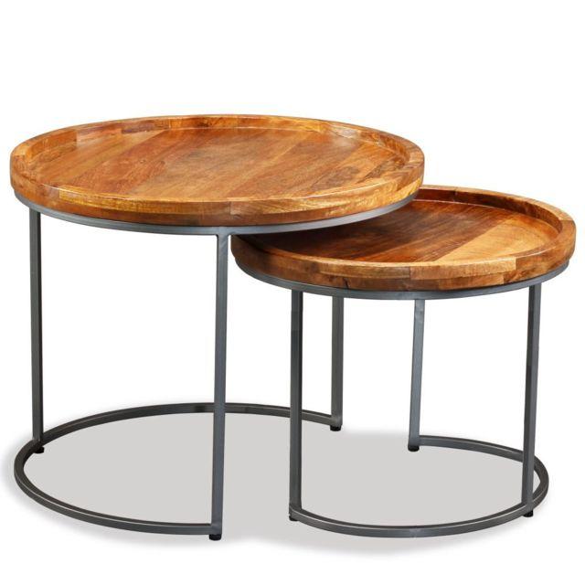 Icaverne - Bouts de canapé ensemble Ensemble de tables d'appoint 2 pcs Bois de manguier massif