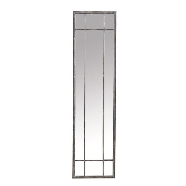pomax miroir rectangulaire fen tre en fer 41x157x4cm atelier gris 0cm x 0cm pas cher achat. Black Bedroom Furniture Sets. Home Design Ideas